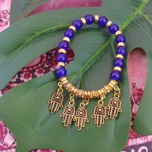 Hamsa Hand Gold Blue Stretch Bracelet